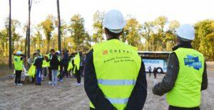 Accueil des élèves sur un chantier Cheval TP pour les coulisses du BTP