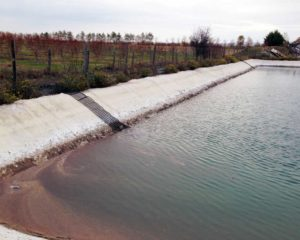 Bassin de rétention avec échappatoires pour les animaux sur le site de Mondy