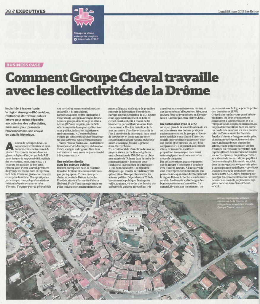 Article de Les Echos concernant le travail réalisé avec les collectivités par le Groupe Cheval