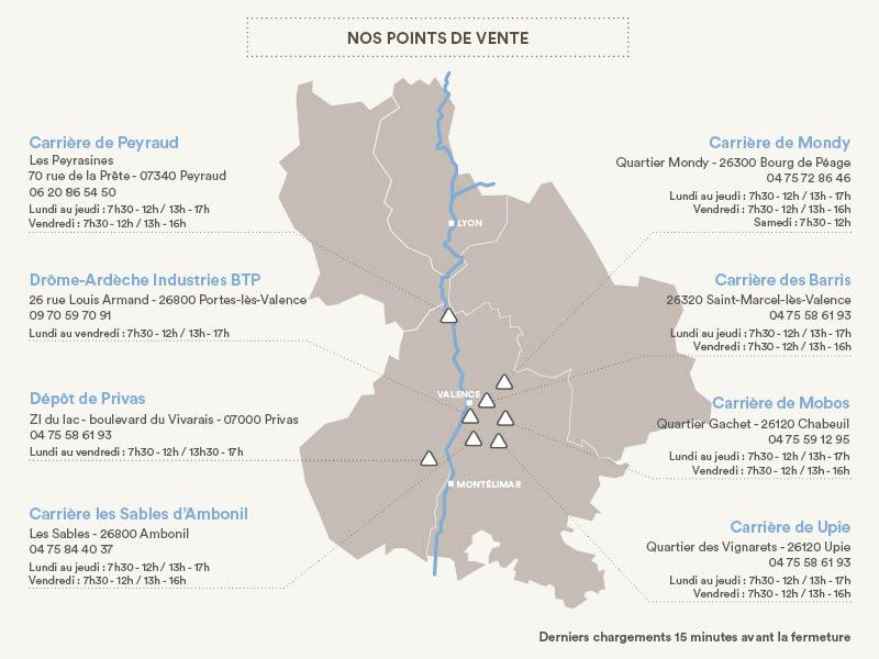 Carte de nos 10 carrières de granulats en Drôme, Ardèche et Isère.